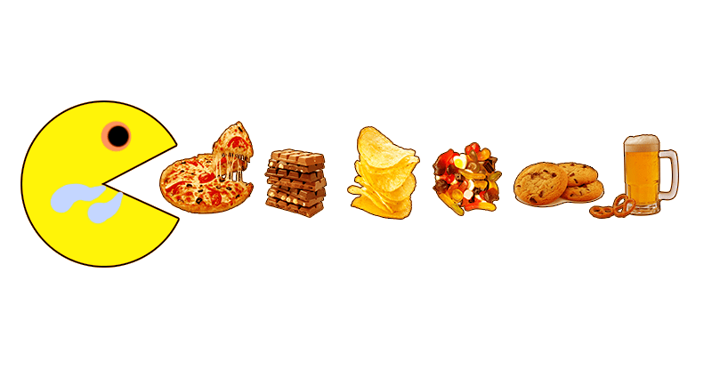 Postavička Pacman je pizzu, čokoládu, čipsy, gumené medvedíky, cookies, pivo a praclíky