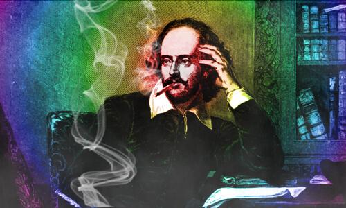 Shakespeare s jointom v ústach na dúhovom pozadí