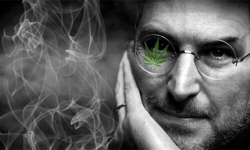 steve jobs s odrazom marihuanového listu v okuliaroch