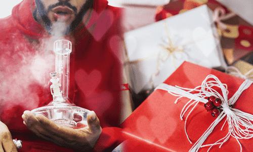 muž a bongo s vianočnými darčekmi húlič vianoce