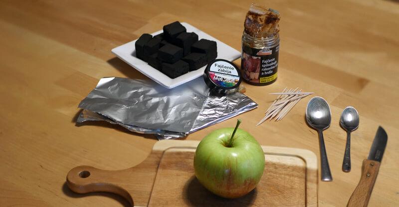 Návod na výrobu korunky na vodnú fajku z jablka - ingrediencie