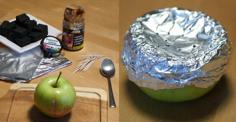 Návod na výrobu korunky na vodnú fajku z jablka - úvodný obrázok: ingrediencie potrebné na výrobu a hotová korunka