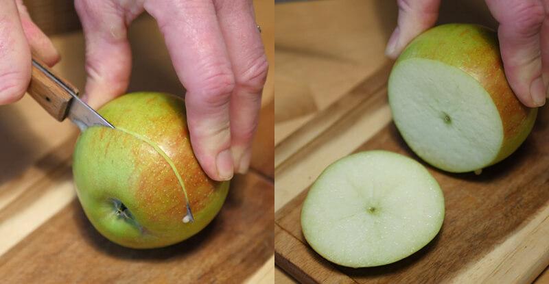 Návod na výrobu korunky na vodnú fajku z jablka - krájanie jablka