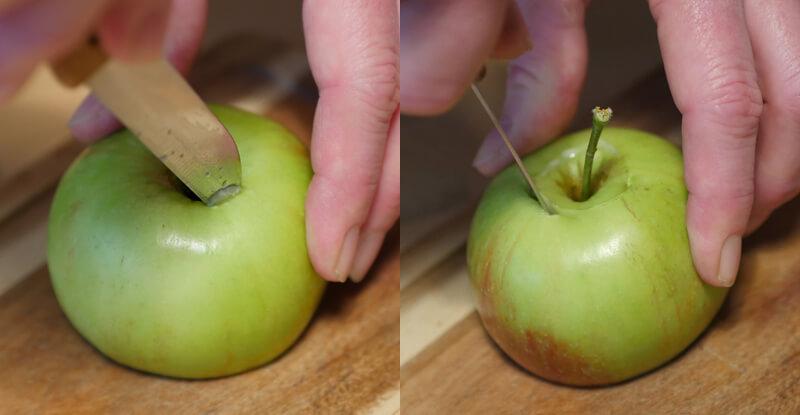 Návod na výrobu korunky na vodnú fajku z jablka - vykrajovanie stopky jablka