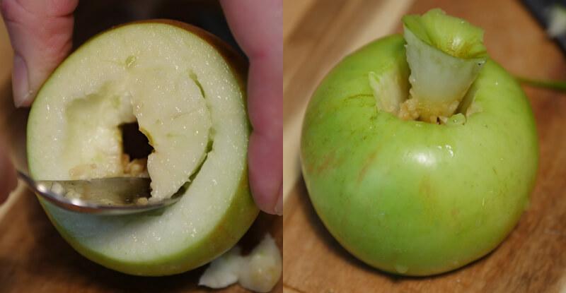 Návod na výrobu korunky na vodnú fajku z jablka - vykrajovanie dužiny a vyrezávanie stopky jablka